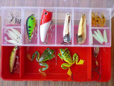 30PCS Lots Fishing Lures Pencil Minnow Popper Spank Frog Wire Bait Crankbait Gru