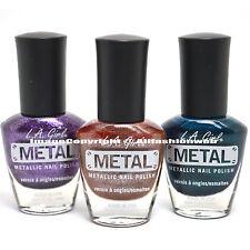 LA Girl 3 Metal Metallic Purple , Brown , Sea Aqua Nail Polish Bold Lacquer