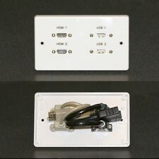 AV Wall plate / Faceplate, 2 x HDMI & USB 2.0 sockets with pigtails