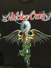 MOTLEY CRUE MUSIC BAND T-SHIRT  BLACK SHORT SLEEVE  UNISEX FR0NT PRINT LOGO BACK