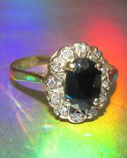 STUNNING SECONDHAND 9ct YELLOW GOLD SAPPHIRE & DIAMOND CLUSTER RING SIZE J