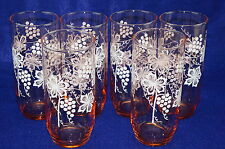 """(6) Pink Glass Tumblers with White pattern, Grapes & Vine, 6 1/8"""""""