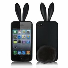 Black Bunny Rabbit Rubber Skin Case Ear & Tail Fur for Apple iPhone 4S 4 4G NEW