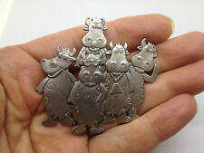 Vintage Signed J.J. Funny Cows Bunch Cool BROOCH Pin Pewter Tone