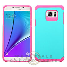 Samsung Galaxy Note 5 Advanced Armor Case-Teal/Hot Pink Cover Shell Protector