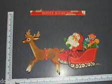 SANTA CLAUS reindeer & sleigh Paper Lithograph Christmas Decoration Jointed