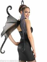 Ladies Extra Large Black Gothic Halloween Angel Fairy Wings Fancy Dress Costume