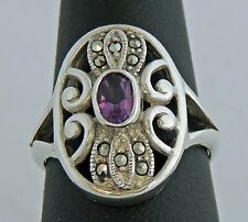 LOVELY VINTAGE ESTATE STERLING SILVER AMETHYST MARCASITE OVAL BAND RING sz 8   H