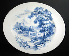 """ANTIQUE WEDGWOOD COUNTRYSIDE BLUE TRANSFERWARE 12"""" OVAL SERVING PLATTER WALL P"""
