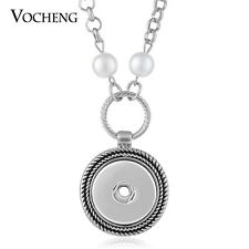 Vocheng Pearl Necklace Snaps Jewelry Round Pendant Fit 18mm Button NN-524
