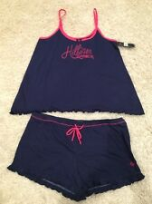 NWT $62 WOMEN'S TOMMY HILFIGER 2 PC PAJAMA SET Navy Pink SHORTS AND TOP L