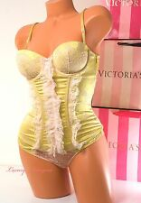 $436 VS VICTORIA'S SECRET DESIGNER Lingerie Set Boned Corset 34B Cheeky S Gold