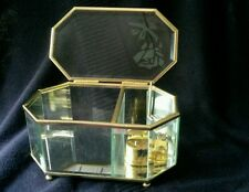 """Glass Jewelry Music Box """"Fur Elise"""" Etched Rose Mirrored Octagon 6.25""""x3.75"""""""