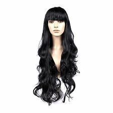 Long 70cm Black Wavy Women's Cosplay Fancy Dress Synthetic Wig with Fringe