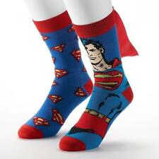 DC COMICS Mens 2 Pair/Pack Superman Crew SOCKS with Cape Shoe Size 6-12 NEW