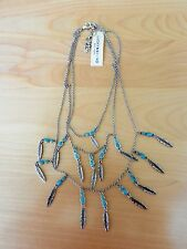 Lucky Brand Silvertone Feather and  Turquoise Charm Necklace MSRP $45