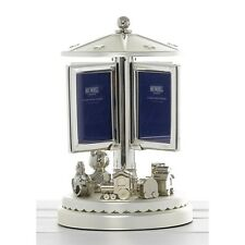 Silver Plated Teddy Roundabout Musical  Photo Frame Baby Christening Gift