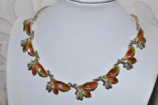 WONDERFUL VINTAGE SIGNED EXQUISITE HORSE CHESTNUT ENAMEL LEAF SERIES NECKLACE