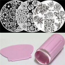 4Pcs/set Nail Art Stamp Image Plates Pink Stamper W/Scraper Rose Flower Theme