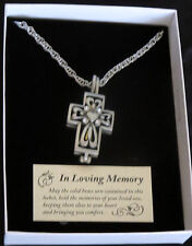 "Memorial Cross Ash Locket Necklace 24"" Chain Clear Crystals In Loving Memory New"