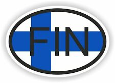 OVAL FLAG WITH FIN FINLAND COUNTRY CODE STICKER CAR MOTOCYCLE AUTO TRUCK
