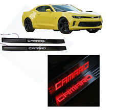 Stainless Door Sill Red Light Plate Guard Scuff Cover For Chevrolet Camaro 10-16