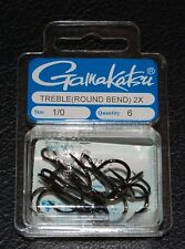 6 Pack Gamakatsu 57411 Superline 2x NS Black Round Bend Treble Hooks - Size 1/0