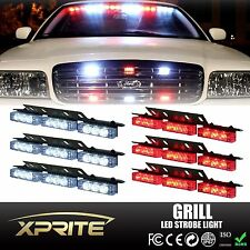54 White Red LED Emergency Car Vehicle Flash Strobe Lights For Windshield Grill