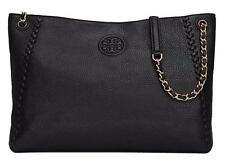 NWT Tory Burch Marion Chain Shoulder Slouchy Leather Tote Bag Black MSRP $495