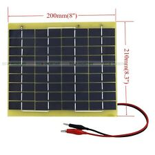 5W Epoxy Solar Panel 5W 12V Garden Fountain Pond Battery Charger +Battery Clips