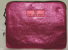 NEW! LIVE LOVE DREAM Pink Metallic Ipad Tablet Case Ebook Case Sleeve Storage