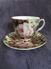 Royal Patrician Bone China England Tea Cup and Saucer Pink Roses Chintz
