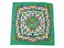 Authentic HERMES Scarf 100% Silk Petite main Green Multi-Color Great 36143
