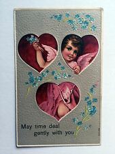1911 Valentine's Day Postcard Hearts w/ Cupid in Them -- May Time Deal Gently