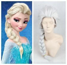101# Adult White Straight Long Wig Anime Snow Queen Elsa Cosplay  Woman Wig