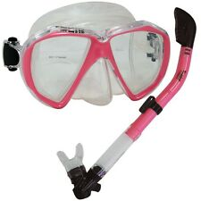 USED-Pink-Fish Eyes Mask Dry Snorkel Scuba Dive Snorkeling Spearfishing Gear Set