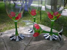 HAND PAINTED HEIRLOOM ROSES ,STRIPES AND GOLD . SET /4 goblet GLASSES