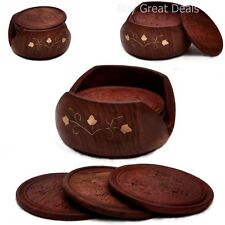 Rosewood Drink Coasters - SouvNear Retro Wood Coaster Set with 6 Round Handmade