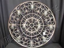 Antique Vintage Rustic Round Votive Candle Holder Wall Hanging Art iron Metal