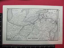 94 YEAR OLD 1922 ERIE RAILWAY RAILROAD SYSTEM MAP ERIE DEPOT LOCATIONS NEW YORK