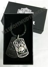 Men's Harley-Davidson Immunity Flaming willie G Skull Dog Tag Pendant Necklace