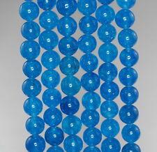 "8MM  JADE GEMSTONE GRADE A APATITE BLUE ROUND LOOSE BEADS 15"""