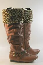 TAN flat  ROUND  toe  ankle buckle with studs thigh high boot  .Size .  10