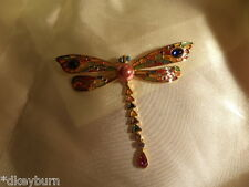 Exquisite JOAN RIVERS Plique a Jour Crystal, Pearl Dragonfly Pin