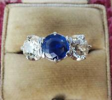 Superb Sapphire and 2ct Diamond 18ct gold and platinum trilogy three stone ring