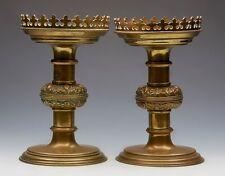 PAIR ANTIQUE BRASS ECCLESIASTICAL ALTAR CANDLESTICKS PUGIN 19TH C.