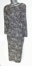 CC Debenhams Black/Cream Long Sleeve Ruched Waist Casual Formal Dress sz10rrp£99