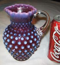 """BEST!!""  VINTAGE FENTON PLUM HOBNAIL OPALESCENT ART GLASS SYRUP PITCHER VASE"