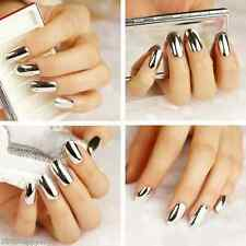 16X Silver Mirror Nail Art Patch Foils Tips Lightning Wraps Minx Decals Stickers