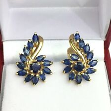 14k Solid Yellow Gold Cute Cluster French Clip Earrings,Natural Sapphire 3TCW